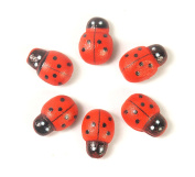 ALL in ONE Self-Adhesive Wooden Ladybug for DIY Craft Home Decoration