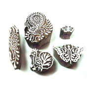 Contemporary Bird and Floral Pattern Wood Stamps for Printing
