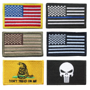 Bundle 6 Pieces Full Colour USA American Thin Blue Line Police Flag Don't Tread On Me Fully Embroidered Morale Tags Patch