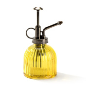 Nattol Vintage Style Yellow Glass Bottle Sprayer,Decorative Ribbed Plant Mister With Top Pump