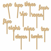Sundarling 1-12 Wooden Table Numbers on Sticks 12pcs One-Twelve Table Numbers for Wedding Party Decoration