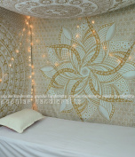 Popular Handicrafts Kp649 Large moon ombre gold Tapestry Indian Mandala Wall Art Hippie Wall Hanging Bohemian Bedspread multi purpose tapestries 210cm x 230cm , White Gold