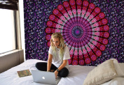 Tapestry Twin Bohemian Mandala Tapestry Wall Hanging Psychedelic Home Decor Wall Art Dorm Decor Beach Throw Blue Lavender Wall Tapestries