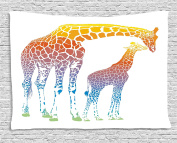 Giraffe Wall Hanging Tapestry by Ambesonne, Mom and Kid Giraffe in Rainbow Colours Abstract Art Surrealist Illustration of African Animal, Bedroom Living Room Dorm Decor, 80 W X 60 L Inches, Multi