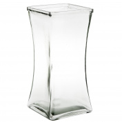 Flower Rose Bunch Glass Gathering Vase Decorative Centrepiece For Home or Wedding (Fits Dozen Roses) by Royal Imports - Square - 22cm Tall, 11cm Opening, Clear