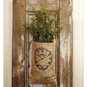 Vintage Hanging Burlap Bag - French Clock & Script