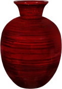 Bamboo Vase Centrepiece - Red Glossy Finish, Wood Grain Design, 36cm Tall ~ Home Décor for Living Room and Coffee Tables