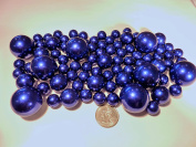 80 Jumbo & Assorted Sizes All ROYAL BLUE PEARLS/Navy Pearls/Cobalt Blue Pearls Vase Fillers Value Pack. NOT INCLUDING THE TRANSPARENT WATER GELS FOR FLOATING THE PEARLS (SOLD SEPARATELY).