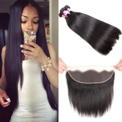 8A Brazilian Straight Hair Lace Frontal Closure with Bundles Straight Virgin Hair with Frontal Straight Hair Bundles with Frontal Closure