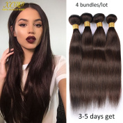 XCCOCO Hair Peruvian Silk Straight Hair 4 Bundles Weave Dark Brown Coloured 2# 8A Wholesale Unprocessed Remy Virgin Straight Human Hair Extensions