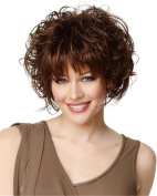 Loose Curly Short Hair Wig for Women Very Natural Looking Brown with Free Wig Cap and Comb