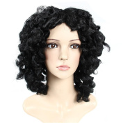 Cosplay Curly Wave Hair Wig Black with Free Wig Cap and Comb