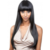Long Straight Hair Wig for Women with Flat Fringe Very Natural Looking Cosplay or Daily Wear