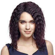 Deep Curly 46cm Brown Hair Wig for Women with Free Wig Cap and Comb Cosplay or Daily Wear