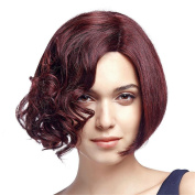 Top Quality Synthetic Bob Hair Wig with Fashion Curls Right Side Design Medium Brown Wig with Breathable Rose Net with Adjustable Straps Natural Looking as Real Hair