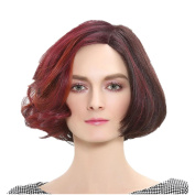 Synthetic Curly Bob Hair Wig Fluffy and Fashionable Mix Brown and Red Full Wig with Free Wig Cap and Comb