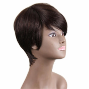 Short Cut Synthetic Hair Wigs for Black Women Breathable Rose Net with Adjustable Straps Natural Looking Wigs . Real Hair with 1 Free Wig Cap and a Wig Comb
