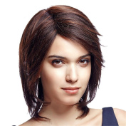 Synthetic Short Straight Wig for Black Women Mixed Brown Hair Wig Breathable Rose Net with Adjustable Straps 1 Free Wig Cap and a Wig Comb