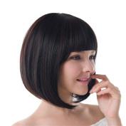 Fashion Straight Bob Hair Wig Dark Brown with Flat Fringe