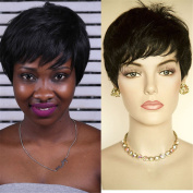 Synthetic Hair Short Cut Pixie Black Wig None Lace Wigs for Women