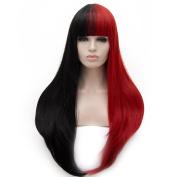 Long 80cm Natural Wavy Mix Colour with Fringe Heat Resistant Lolita Fashion Harajuku Cosplay Wig + Wig Cap