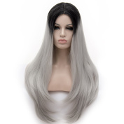 Long 70cm Natural Wavy Ombre Colours Middle Part Heat Resistant Lolita Fashion Harajuku Cosplay Wig + Wig Cap