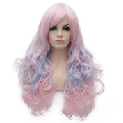 Light Pink Mix Blue Long 70cm Curly Heat Resistant Lolita Fashion Harajuku Cosplay Wig