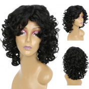 TKEKON Short Curly Wigs for Black Women Natural Looking Fluffy Kinky Synthetic Wig for Daily Use or Cosplay Halloween Party