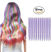 MIMAN 50cm Party Highlights Clip in Synthetic Hair Extensions 12 PCs Purple Straight Hairpieces