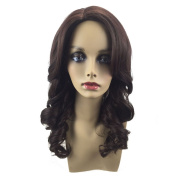 BeautyGal Natural Wavy Synthetic wig Side Part Body Wave Shaggy Bouffant Full Curly Hair Wigs Soft Brown 46cm