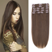 30cm - 60cm Clip in Remy Human Hair Extensions Grade 7A Thick to End Full Head Natural Hair Long Straight 8 Pieces 18clips 95g 41cm - 46cm , #4 Medium Brown