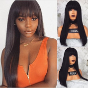 RIJIA Brazilian Full Lace Human Hair Wigs With Baby Hair Silky Straight Lace Wigs With Bangs For Black Women 130Density Natural Black Colour