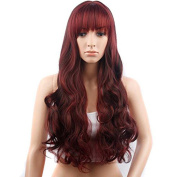 Women's Long Curly Wigs Wavy Heat Resistant Hair Wigs with Bangs Burgundy Costume Wigs Cosplay Party Wigs for Ladies