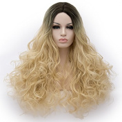 Amback Grey Ombre Wigs Dark Roots Long Curly Synthetic Hair Full wigs for Women