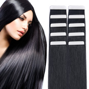 36cm Tape in Hair Extensions Remy Human Hair Seamless Glue in Tape Hair Extension 20pc 40g/pack Off Black #1B