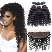 Allrun Hair Brazlian Deep Wave 3 Bundle Deals Brazilian Curly Virgin Hair Weave 25cm - 60cm 100% Brazilian Hair Curly Weave Human Hair Extensions