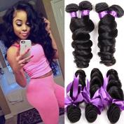 Shireen Peruvian Virgin Hair Loose Wave 3 Bundles 8A Unprocessed Loose Deep Wave Wet and Wavy Human Hair Extensions Natural Black