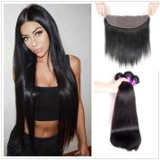 JiSheng Brazilian Human Hair Bundles With Closure Ear To Ear Lace Frontal Closure 8A Unprocessed Straight Human Hair Bundles Weave Natural Colour (20 22 24 +18) ¡