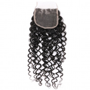 Free Part Lace Closure Kinky Curly Brazilian Human Hair 100% Unprocessed Virgin Hair 4x 4 Closure Natural Colour 30cm