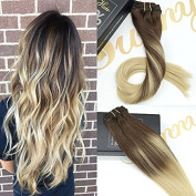 Sunny 50cm Clip In Hair Extensions Balayage Ombre Chocolate Brown Highlighted Bleach Blonde Double Weft 100 Remy Human Hair Clip In Extensions 7pcs 120g