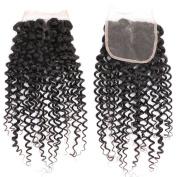 Brazilian Curly Virgin Hair Middle Part 4x 4 Lace Closure 100% Unprocessed Human Hair Closure Natural Black 25cm