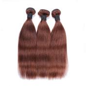 IUEENLY Medium Brown Brazilian Straight Hair 3 Bundles 7A Virgin Brazilian Hair Extensions Light Brown Colour #4 Human Hair Bundles