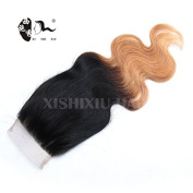 Ombre Lace Closure Brazilian Body Wave Closure Blonde Free Part 4x 4 Three 2Tone Non Remy Human Hair