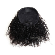 Kinky Curly Ponytail Hair Piece Clip ins Brazilian Virgin Hair Top Closure Ponytail