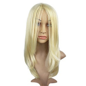 2017 Trendy Light Blonde Straight Hair Wig Capless Synthetic Hair Wig