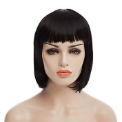 2017 Trendy Natural Short Black Colour Popular Straight Synthetic Wig For Woman