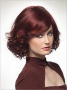 2017 Trendy Top Pop Elegant Red Wine Short Wig with Bottom Curls+a Free Wig Cap