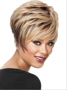 2017 Trendy Euro and American fashion mix colour layer curly short full wig + a free wig