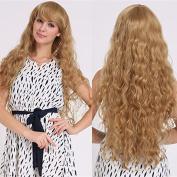 2017 Trendy New Blonde Wigs For Women/Girls Long Wavy Curly Side Bangs Wigs