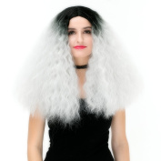 Amback Mid Length Cosplay Wig Silver Middle Part Wigs for Women
